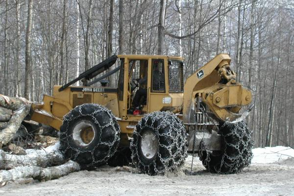 bulldozer with logs